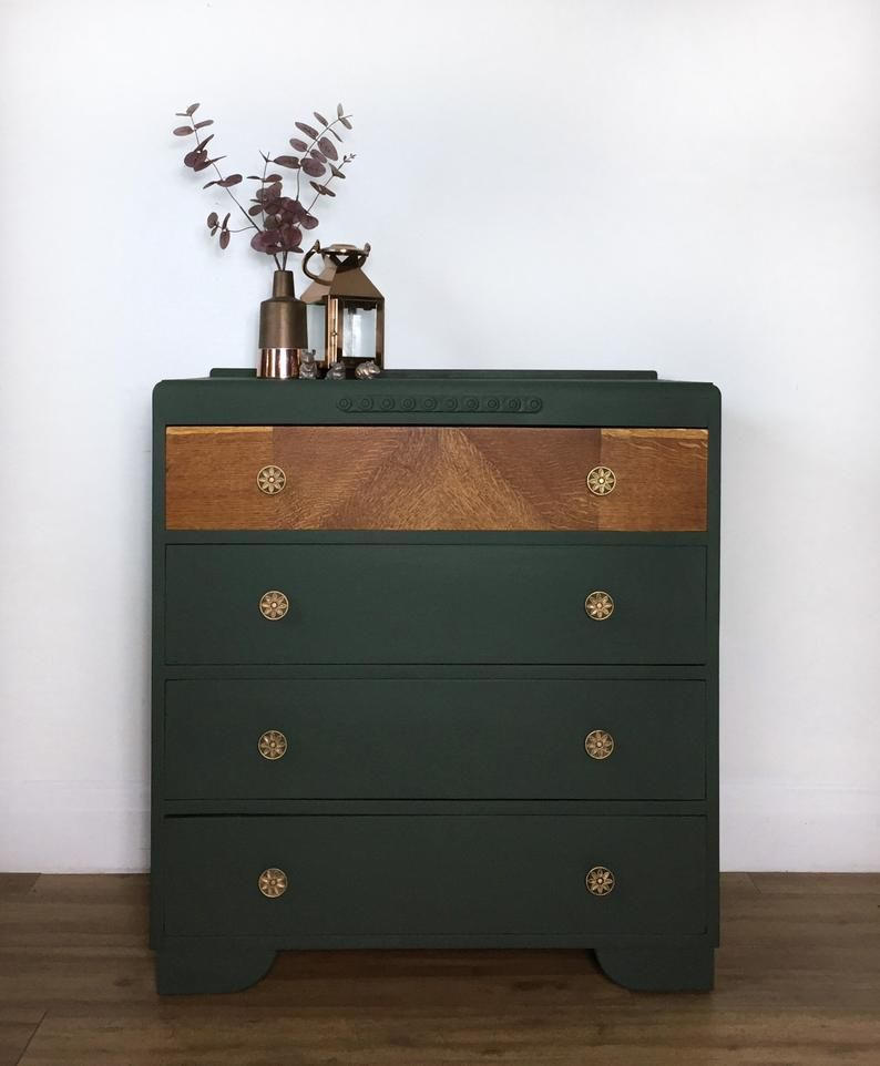 Vintage Drawers Painted In Forest Dark Green With Warm Gold Handles And Bare Wood Detail In 2020 Chest Of Drawers Decor Green Chest Of Drawers Vintage Chest Of Drawers