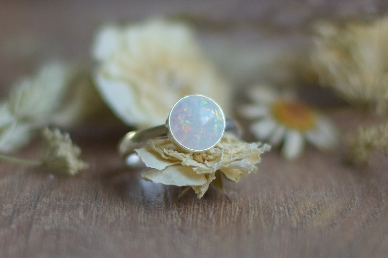 White Opal Ring Dainty Ring Silver Ring Adjustable Anniversary Gift Opal Jewelry Unique Gift For Her White Opal Ring Opal Jewelry Opal Rings