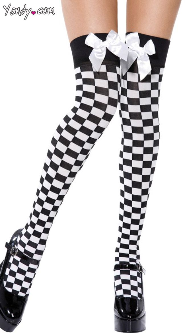 1d6786037fdf7 Black And White Checkered Thigh-Highs | Arte | Hold up stockings ...