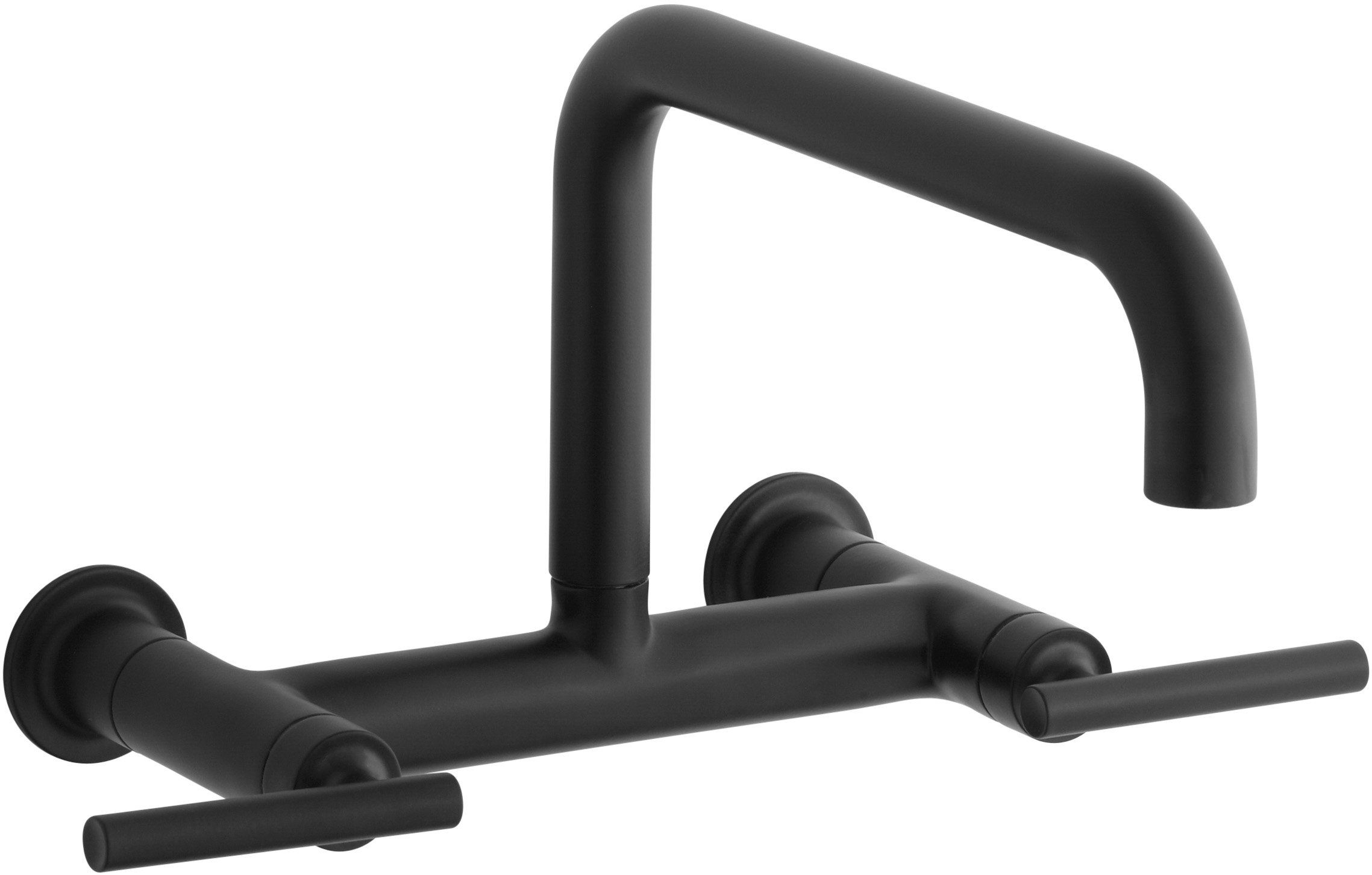 KOHLER K-7549-4-BL Purist Wall-Mount Bridge Faucet, Matte Black ...