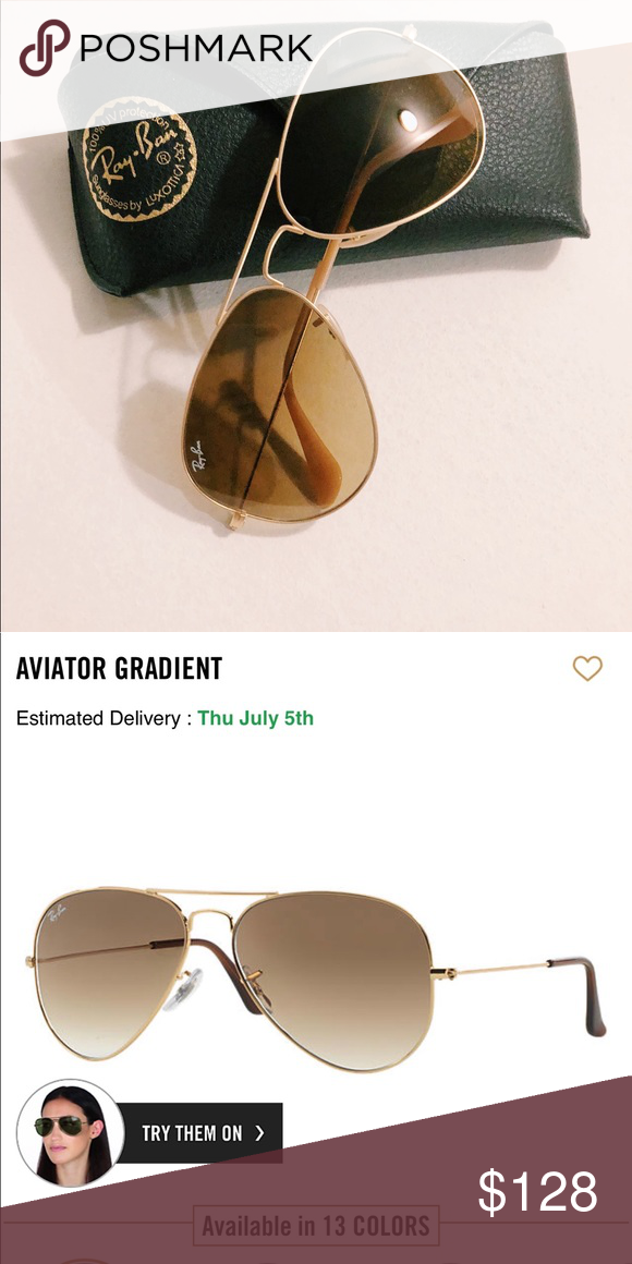 1f321329ad31 Ray-ban aviators classic gradient Brown sunglasses aviator style. Authentic  Ray-Ban. Lightly worn. Ray-Ban Accessories Glasses