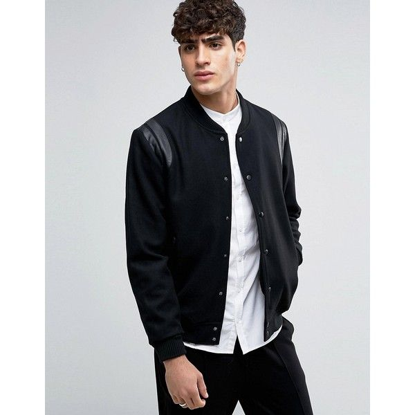 Selected Homme Varsity Bomber with Leather Shoulder Trims ($190 ...