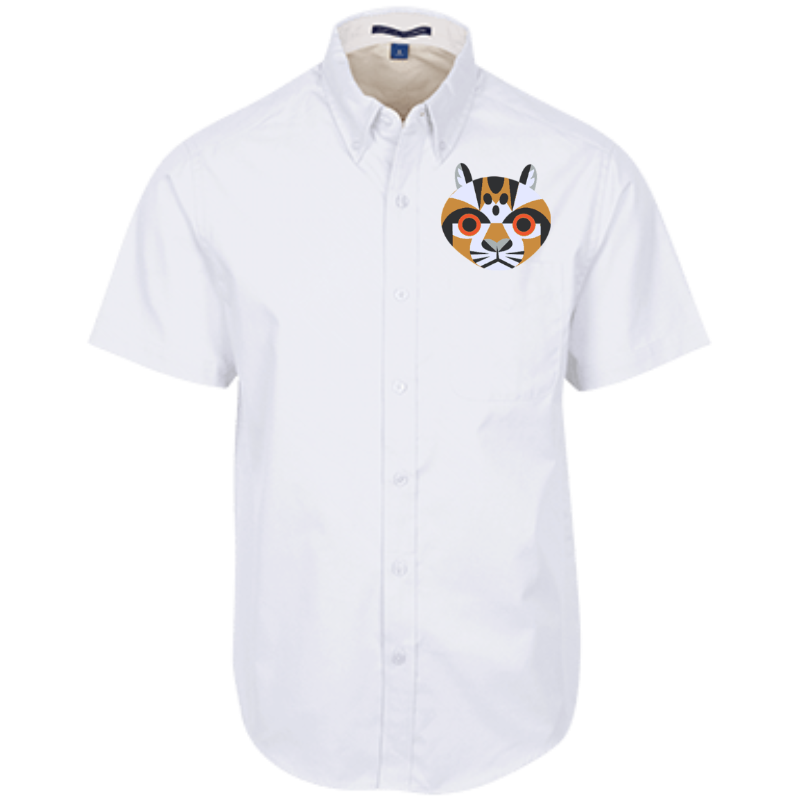Ocelot Geometric Embroidered Men's Dress Shirt Mens