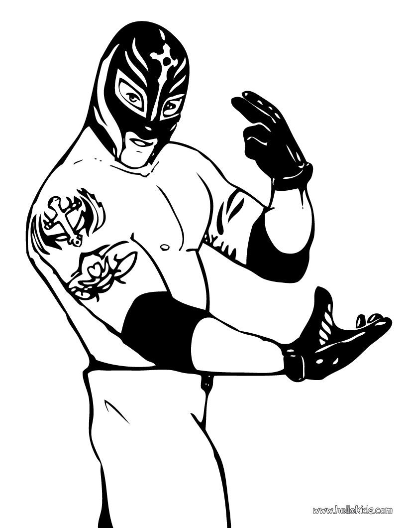 Wwe coloring pages to print - Coloring Pages For The Luchador Bday Party Wrestler Rey Mysterio Coloring Page
