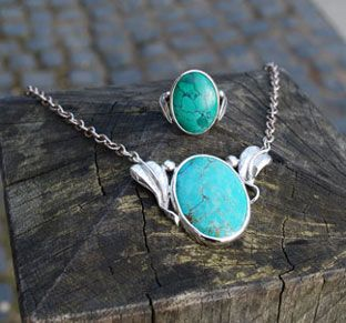 Silver and Turquoise Pendant and Ring