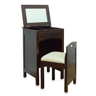 cheswick vanity storage unit and seat in espresso bedbathandbeyond rh pinterest com