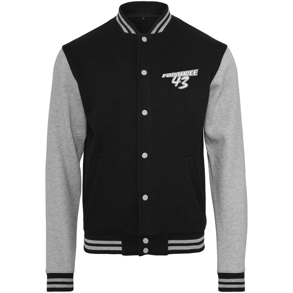 FOR THREE Sweat College Jacket black/grey