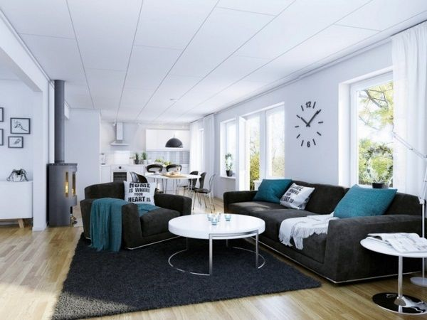 gray and turquoise living room decorating ideas. Pillow turquoise livingroom modern seating furniture gray coffee table  round white Wall clock