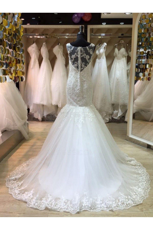 Mermaid lace illusion neckline wedding dresses bridal gowns