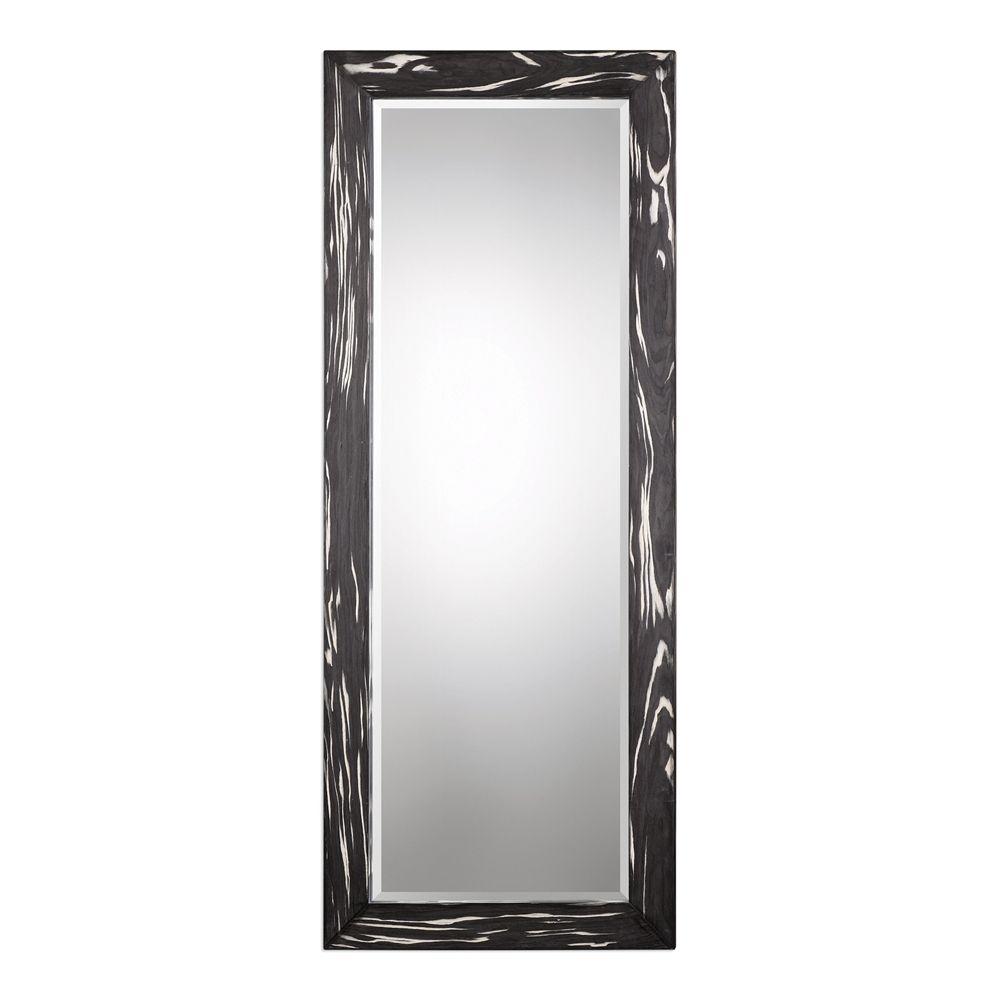 "OVER DINING ROOM FIREPLACE MANTEL   Uttermost Kozani Oversized Black Wood Beveled Mirror 80""L x 32""H, turned horizontally"