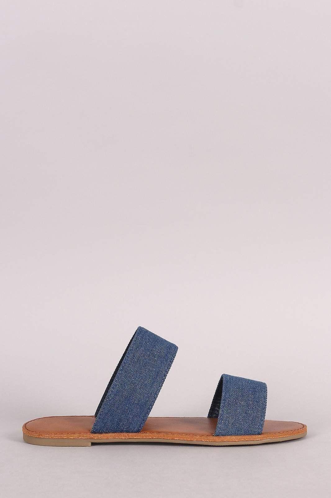 7f450523272ef Denim Double Band Slip On Flat Sandal