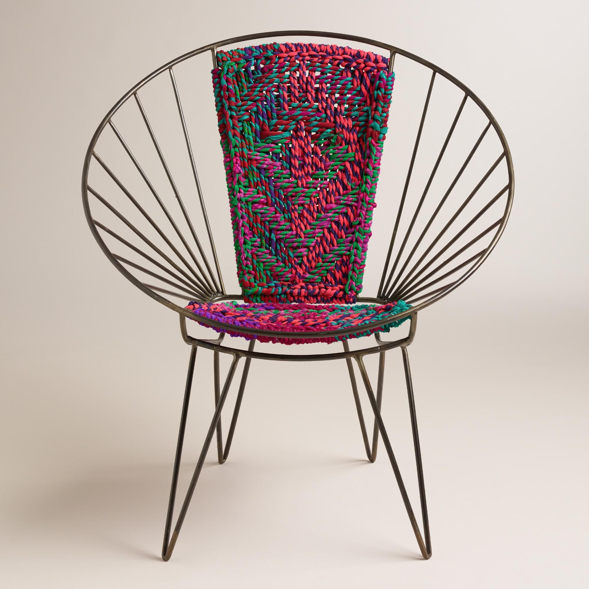 From my living room greenpoint works acapulco chair in leather meets - Metal Woven Chindi Chair
