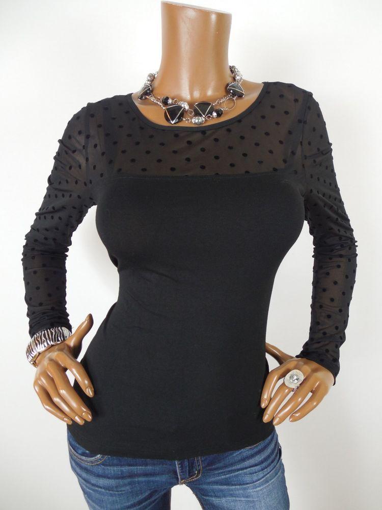 19960c8ef41 H   M Womens Top S SEXY Shirt BlacK Mesh Polka Dot Stretch Long Sleeves  Casual  HM  Blouse  Casual