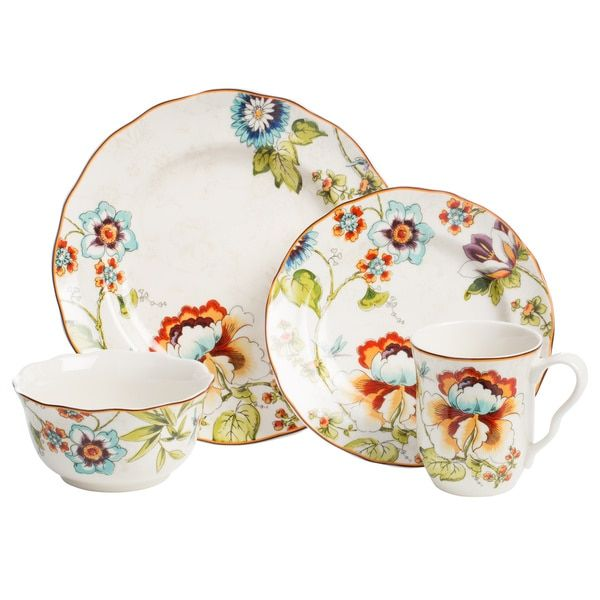 Enjoy everyday meals and special dinners on this floral dinnerware set from Bella Vista. This porcelain dinnerware set is safe for the dishwasher and ...  sc 1 st  Pinterest & Enjoy everyday meals and special dinners on this 16-piece floral ...