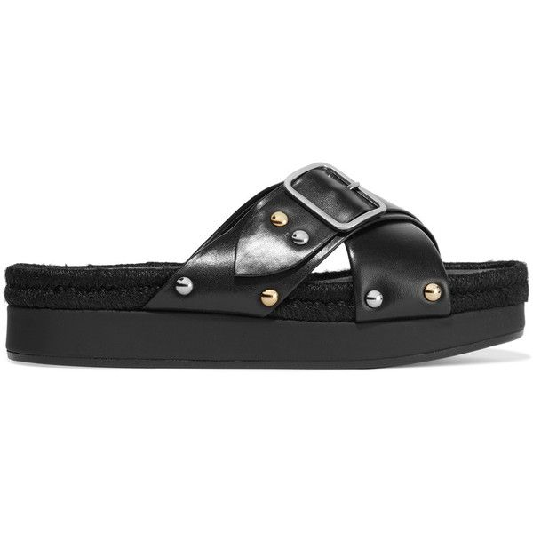 Designer Clothes, Shoes & Bags for Women | SSENSE. Maje - Lyope Raffia-trimmed  Studded Leather Sandals ...