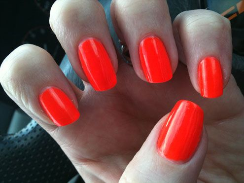China Glaze Japanese Koi - insane dark neon orange, no hint of ...