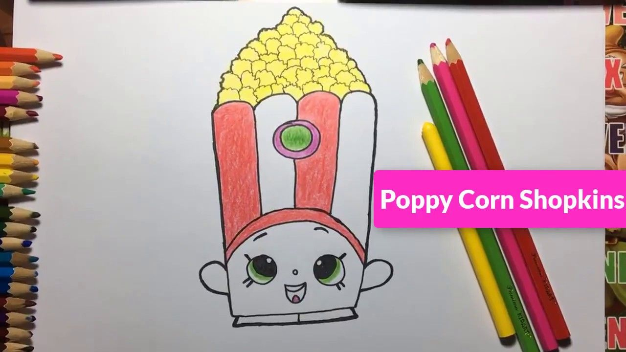 coloring and painting a Poppy Corn Shopkins KAWAII how to ...