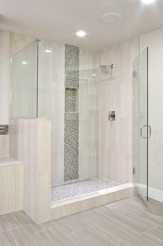 Vertical Tile Mosaic Tile Through Niche In 2019 Shower