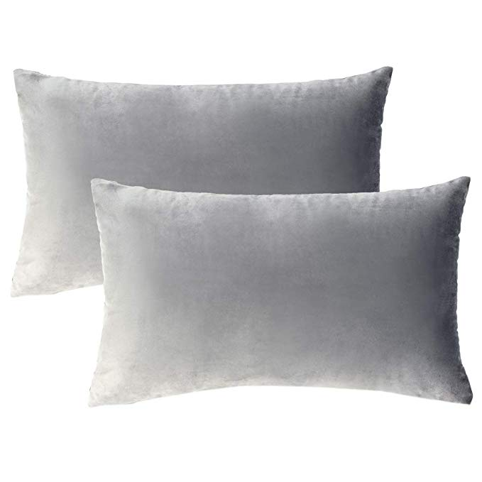 Amazonsmile Wlnui Set Of 2 Rectangle Soft Velvet Solid Light Gray Decorative Oblong Lumbar Throw Pillow Lumbar Throw Pillow Decorative Cushions Throw Pillows