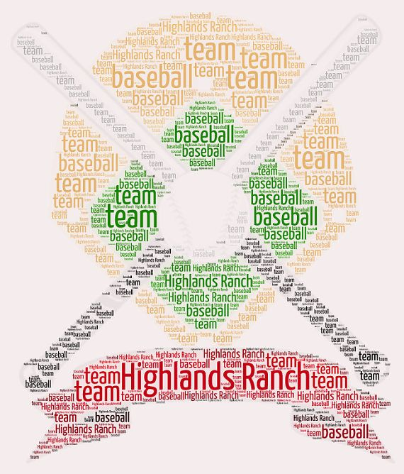 Baseball word collage, wordle, word cloud, custom personalized print