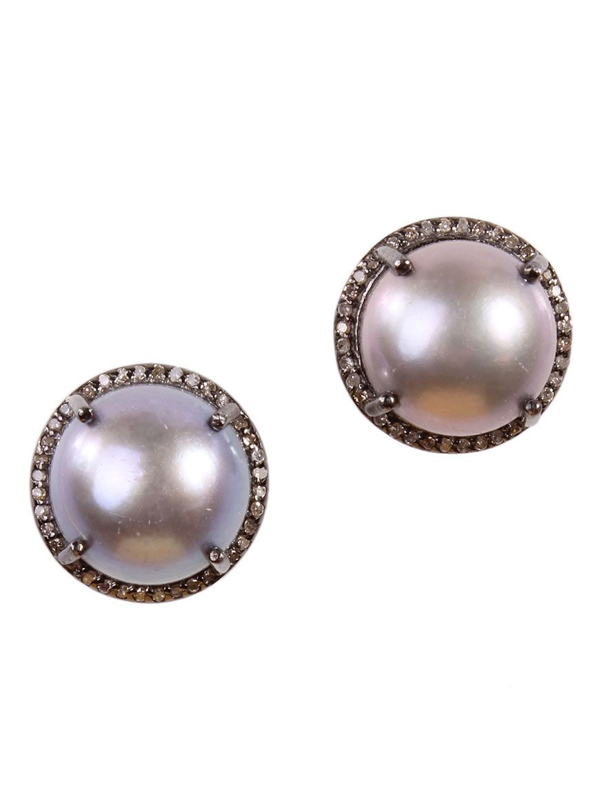 Margo Morrison Pearl & Diamond Stud Earrings RDqsN9ftk