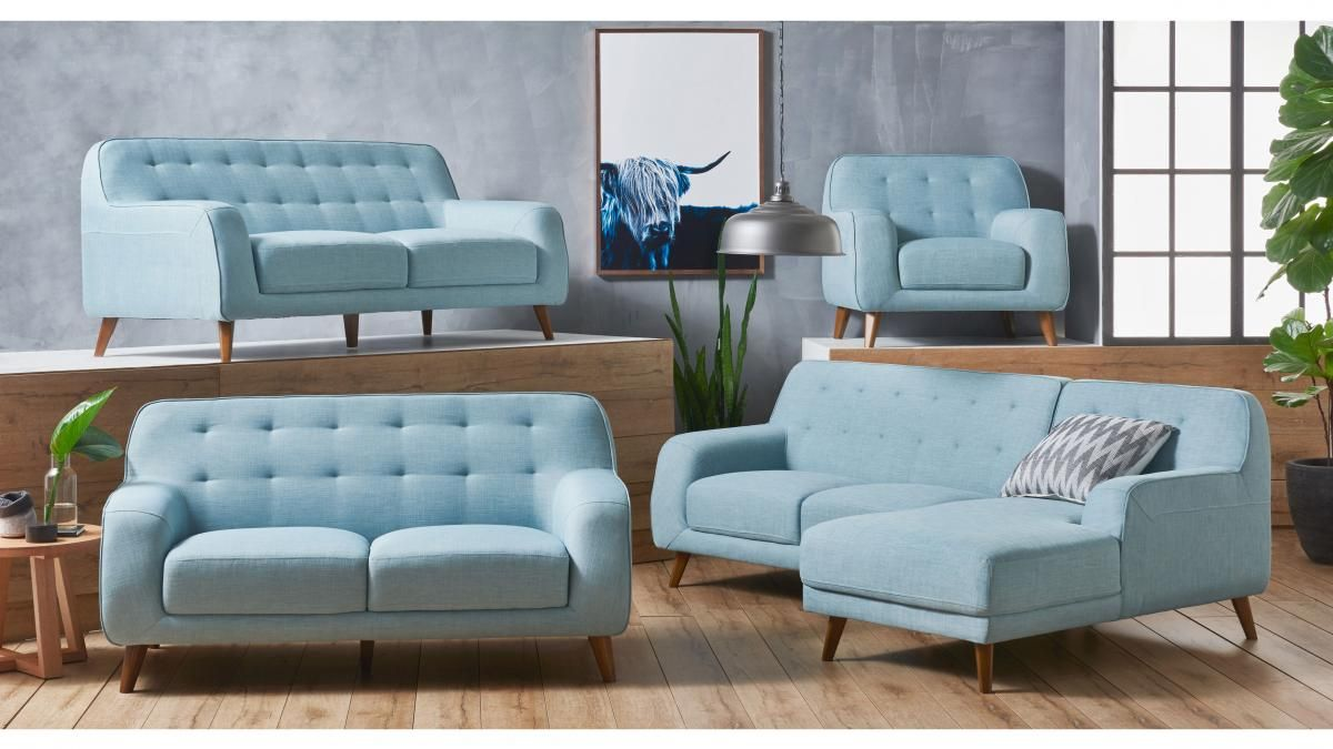Brosnan Fabric Sofa With Chaise Furniture Outdoor Bbqs Living Room Lounges Harvey Norman Austral Light Blue Living Room Fabric Sofa Fabric Armchairs