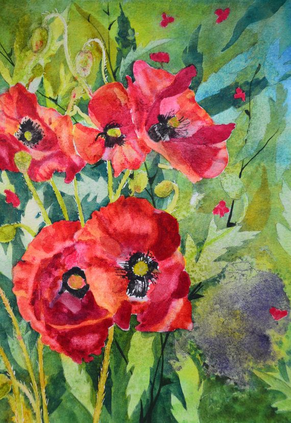 Spring poppies fine art watercolor floral watercolors watercolor spring poppies fine art watercolor floral watercolors watercolor painting original red orange poppies aqua green purple flower paintings art mightylinksfo Image collections