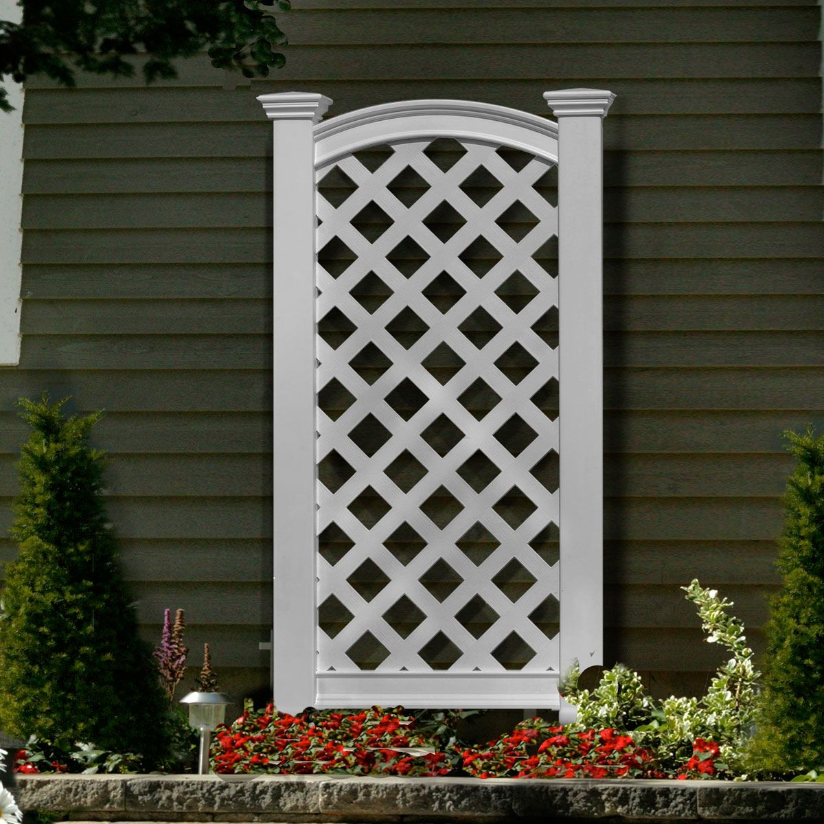 27 W X 56 1 4 H Luxembourg Privacy Screen White Vinyl Lattice Panels Pergola Fence Design