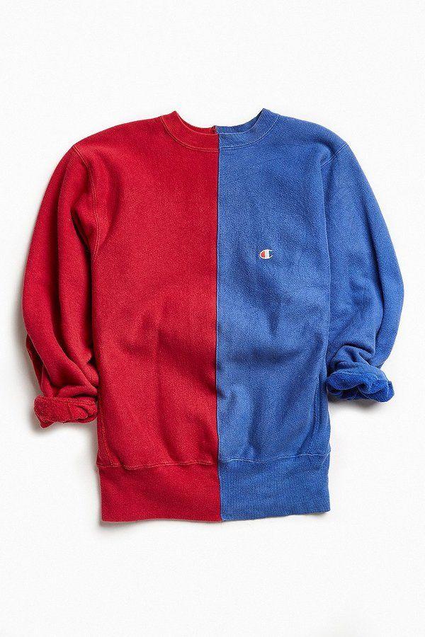 Urban Outfitters Vintage Vintage Champion Red Blue Split Seam Crew Neck Sweatshirt Mens Sweatshirts Sweatshirts Champion Sweatshirt