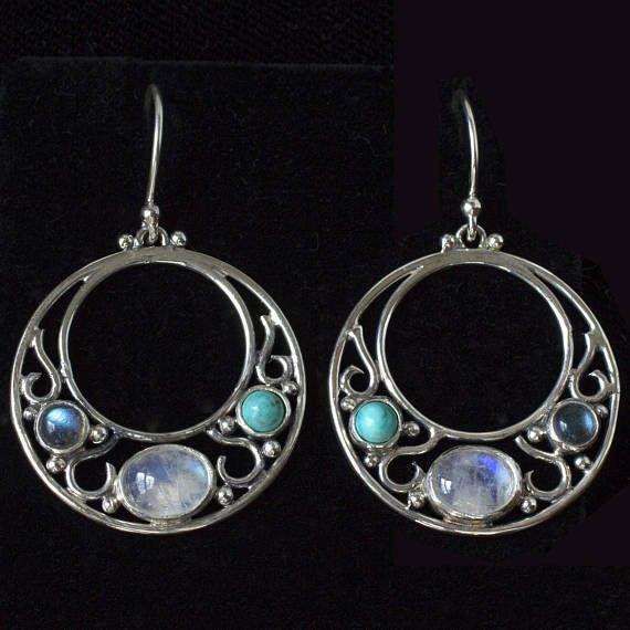 48e21eca5fa32 Art Nouveau Moonstone Earrings, Moonstone Labradorite Turquoise ...