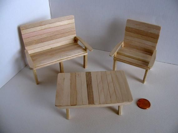 Miniature Garden Furniture Set / Loveseat, Chair & Table / 1:12 Scale Doll House Garden Furniture / Handmade with Birch / Unfinished #dollfurniture
