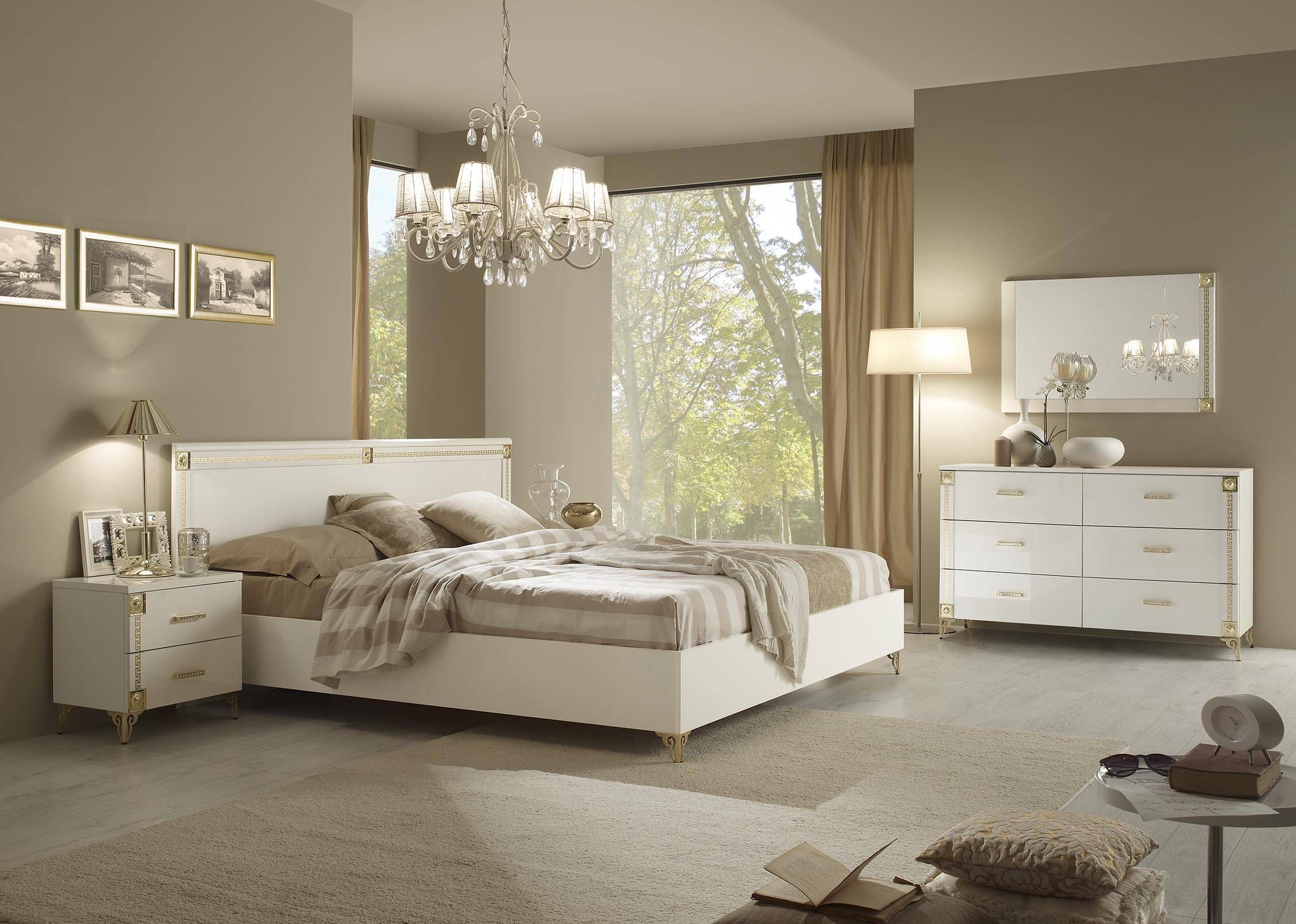Upscale Classy White Bedroom Suite With Stylish Gold Accents Add