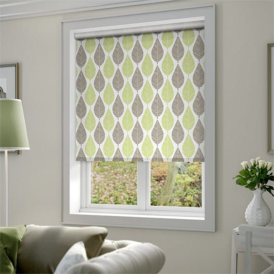 Choices Winter Leaf Spring Green Roller Blind Fabrics Curtains