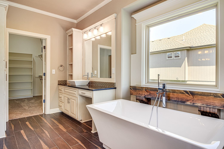 Dark Wood and Cream Bathroom