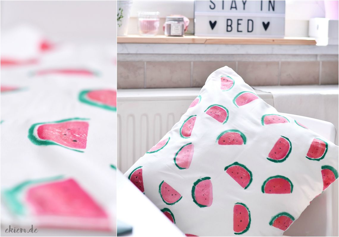 Diy Melonen Kissen Mit Kartoffeldruck Diy Projects Diy Creative