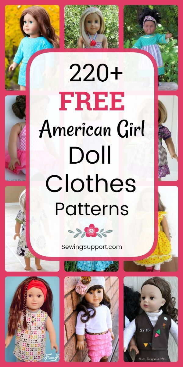 220+ Free Doll Clothes Patterns  18 inch American Girl - Doll clothes american girl, American girl doll clothes patterns, American girl doll diy, Dolls clothes diy, Doll patterns free, Doll clothes patterns free - Over 200 free 18 inch, American Girl doll clothes sewing patterns, tutorials, and diy projects  Many simple, quick, and easy designs  Sew dresses, skirts, tops, pants, and more!