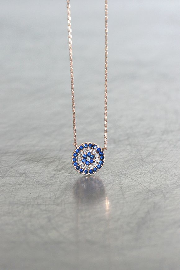 1e46f88d8fd5 Rose Gold Sapphire Blue Disc Evil Eye Necklace Sterling Silver from  kellinsilver.com