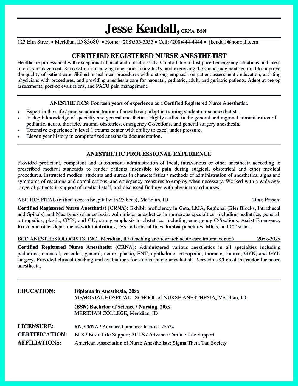 Some samples of CRNA resume here are useful for you who want to get ...