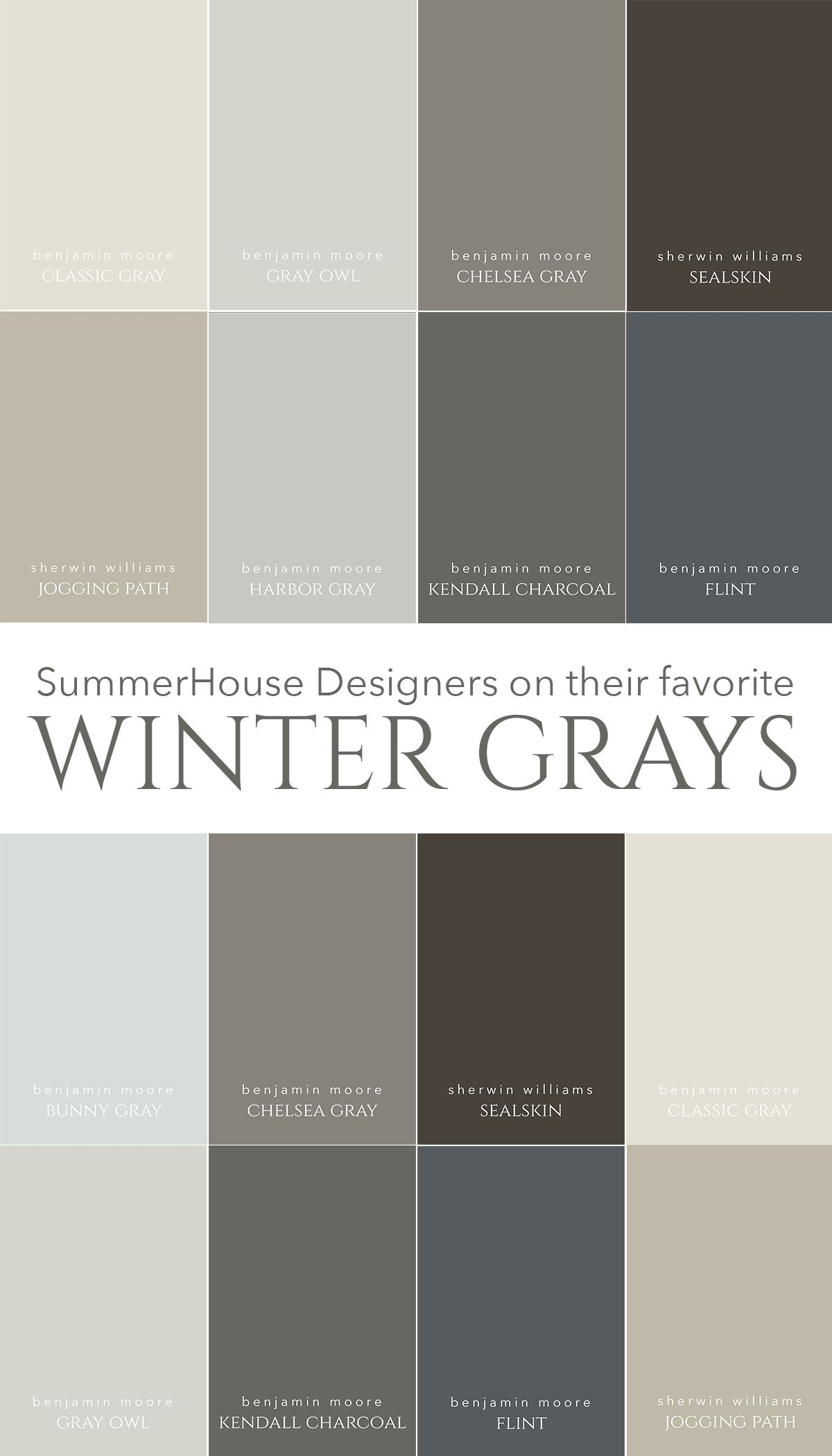 SummerHouse Interior Designersu0027 Favorite Winter Inspired Gray Paint Colors  // Www.alwayssummerblog.com