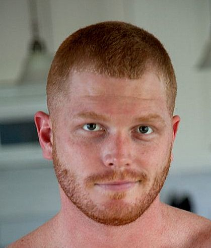 unnamed model with heavy stubble  red hair men mens