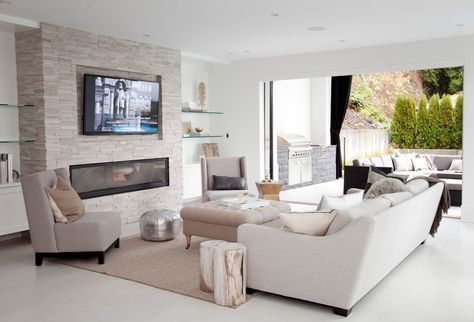 Linear Fireplace Living Room Contemporary With Glass Shelves Indoor Outdoor Monochromatic Living Room With Fireplace Contemporary Fireplace Family Room Design