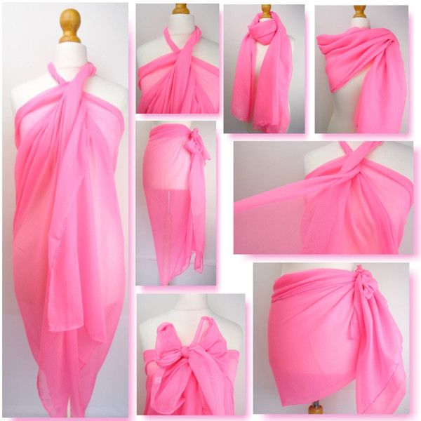 Neon Pink Plain Sarong Pareo Beach Cover Up Resort Wear Pool Wrap 13 Liked On Polyvore Featuring Swimwear C Clothes Design Neon Pink Clothes For Women