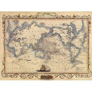 1800\'S THE WORLD MAP VOYAGES CAPTAIN COOK LARGE VINTAGE POSTER ...