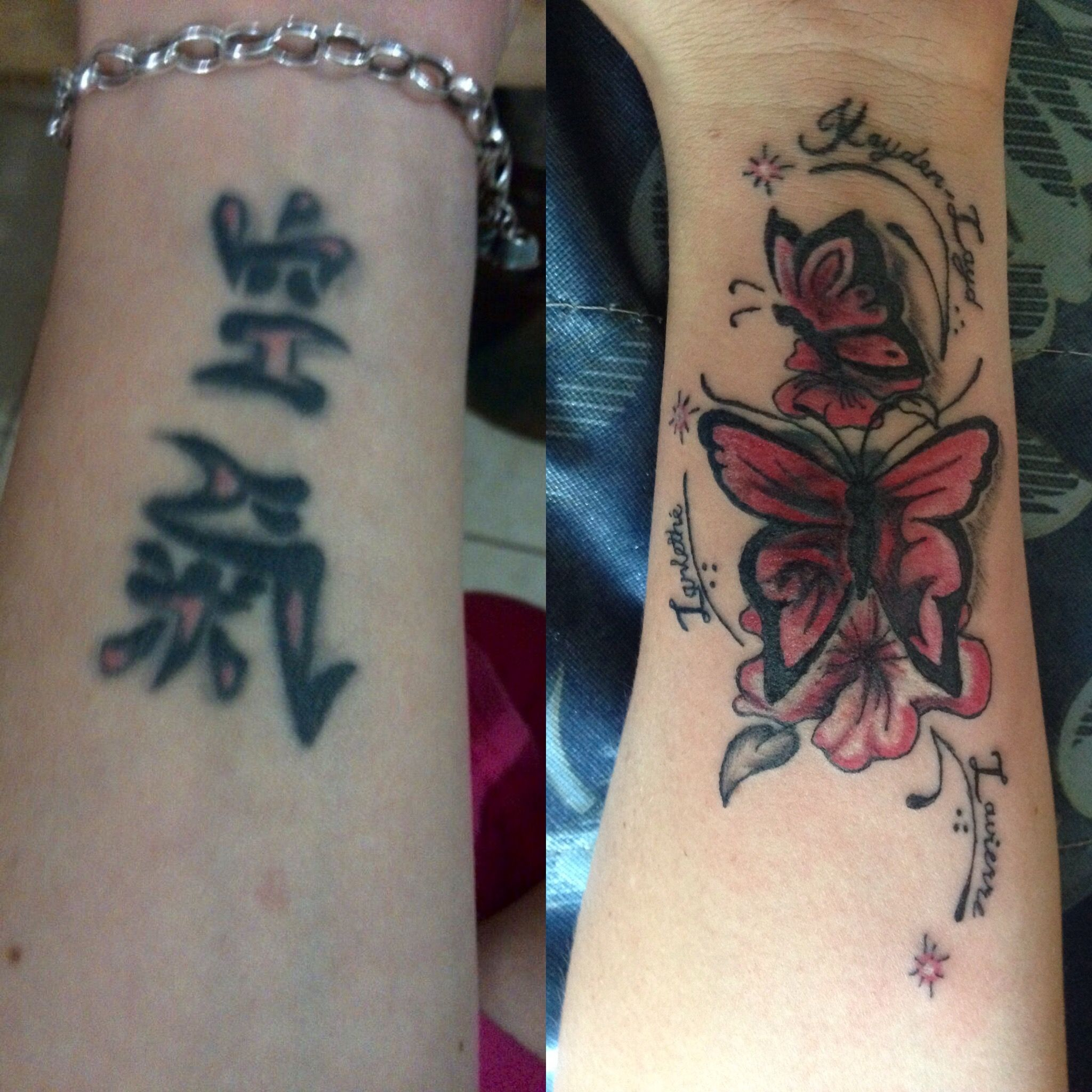 Before and after cover up tattoo by charlane chop shop