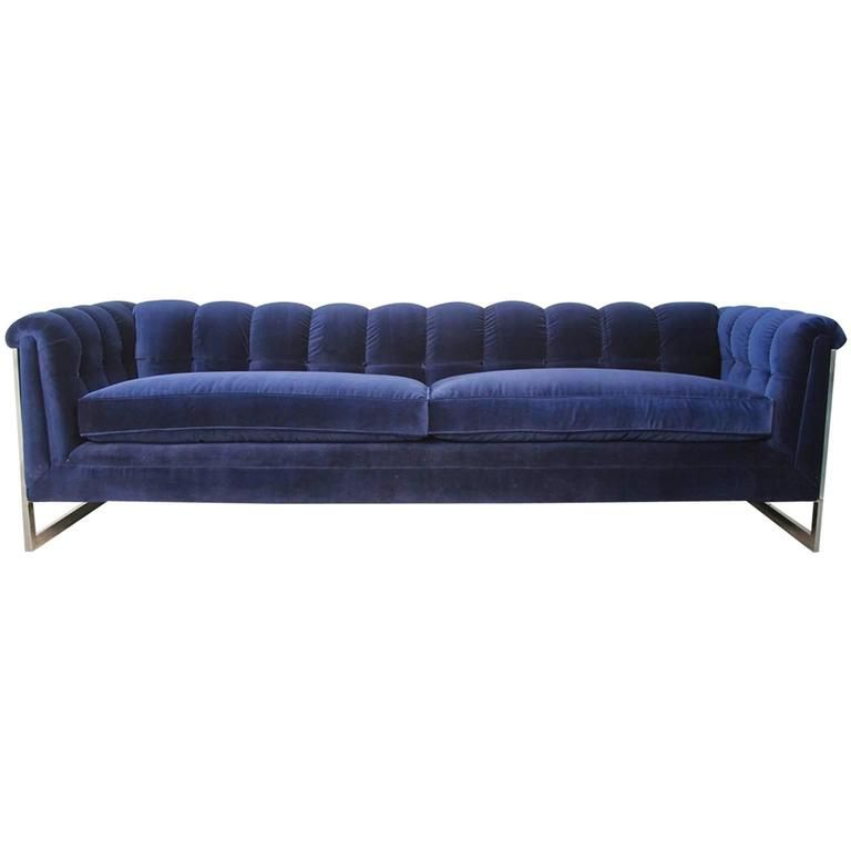 Blue Velvet Tufted Back Chrome Frame Mid Century Modern Sofa Mid Century Modern Sofa Modern Sofa Vintage Sofa