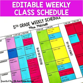 Class Schedule Template Weekly Editable Class Schedule