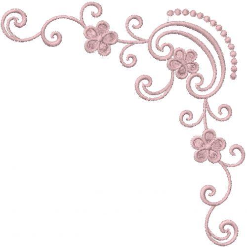 Swirl Flower Corner Embroidery Design Annthegran Free Machine