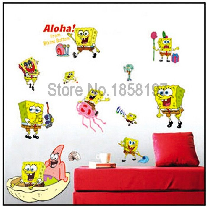 Fashion Cute Spongebob wall stickers For Kids Room decor stickers ...