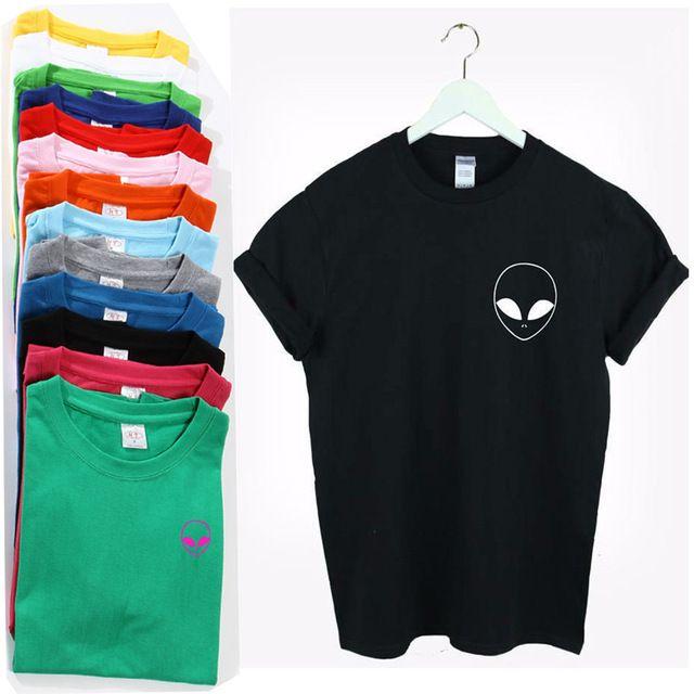 Women Sexy T-shirt ALIEN POCKET Letter grunge tshirt Cotton Casual Camiseta Tumblr estilo Tees Summer T Shirt Homme T-F10358 #Compare #Tees