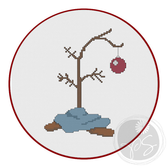 Charlie Brown Christmas Tree Printable Pdf Pattern Cross Stitch Christmas Ornaments Cross Stitch Tree Cross Stitch Patterns Christmas